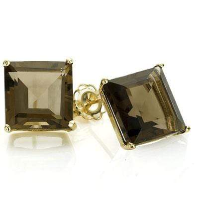 PERFECT 1 CARAT TW (2 PCS) SMOKEY TOPAZ 10K SOLID YELLOW GOLD EARRINGS - Wholesalekings.com