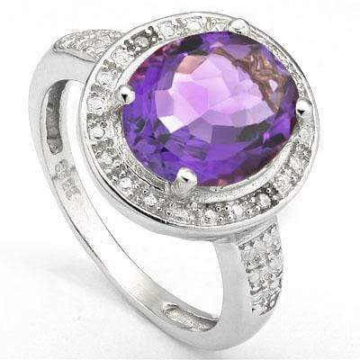 PERFECT 3.16 CARAT TW (3 PCS) AMETHYST & GENUINE DIAMOND PLATINUM OVER 0.925 STERLING SILVER RING - Wholesalekings.com