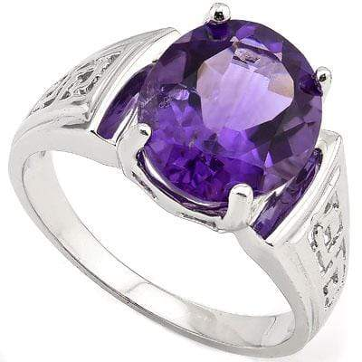 PERFECT 3.50 CT AMETHYST PLATINUM OVER 0.925 STERLING SILVER RING - Wholesalekings.com