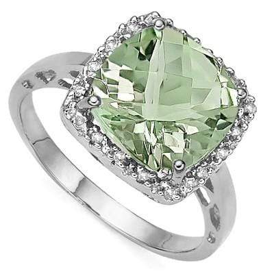 PERFECT 3.99 CT GREEN AMETHYST & 2 PCS GENUINE DIAMOND 0.925 STERLING SILVER W/ PLATINUM RING - Wholesalekings.com