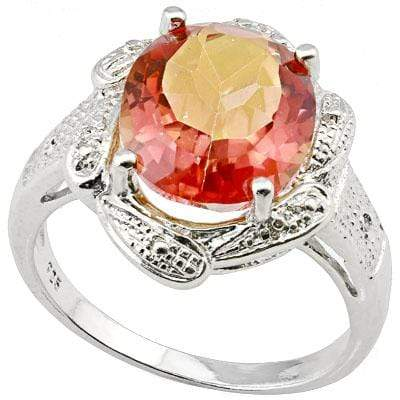 PERFECT 4.302 CARAT  AZOTIC GEMSTONE & GENUINE DIAMOND PLATINUM OVER 0.925 STERLING SILVER RING - Wholesalekings.com