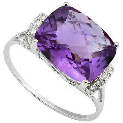 PERFECT 4.40 CT AMETHYST & 14 PCS WHITE DIAMOND 10K SOLID WHITE GOLD RING - Wholesalekings.com