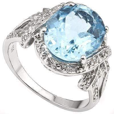 PERFECT 5.60 CT BLUE TOPAZ & 2 PCS WHITE DIAMOND PLATINUM OVER 0.925 STERLING SILVER RING wholesalekings wholesale silver jewelry