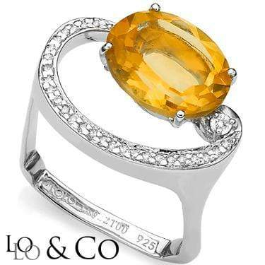 "PERFECT LOLO & CO 4.2 CARAT TW ""HEAT"" CITRINE & GENUINE DIAMOND PLATINUM OVER 0.925 STERLING SILVER RING wholesalekings wholesale silver jewelry"