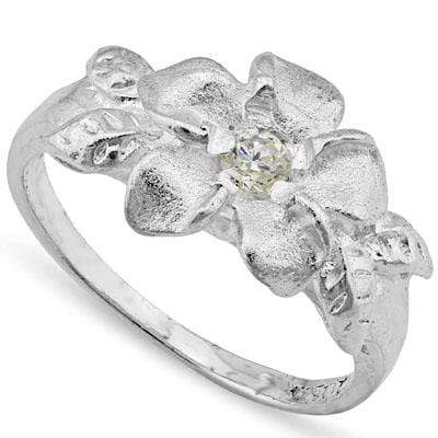 PERFECT PLUMERIA RING WITH 0.925 STERLING SILVER PLATINUM OVER 0.925 STERLING SILVER RING - Wholesalekings.com