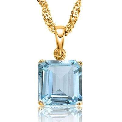 PRECIOUS 0.5 CARAT TW (1 PCS) BLUE TOPAZ 10K SOLID YELLOW GOLD PENDANT wholesalekings wholesale silver jewelry