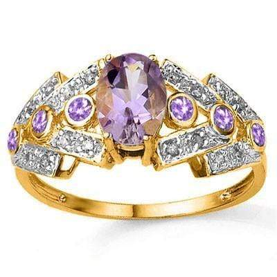 PRECIOUS 0.80 CT AMETHYST & 6 PCS AMETHYST 24K GOLD PLATED RING wholesalekings wholesale silver jewelry
