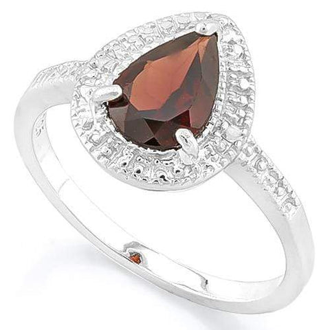 PRECIOUS ! 1 1/2 CARAT GARNET & DIAMOND 925 STERLING SILVER RING - Wholesalekings.com
