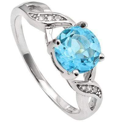 PRECIOUS 1.68 CT BLUE TOPAZ & 6 PCS CREATED WHITE SAPPHIRE PLATINUM OVER 0.925 STERLING SILVER RING - Wholesalekings.com