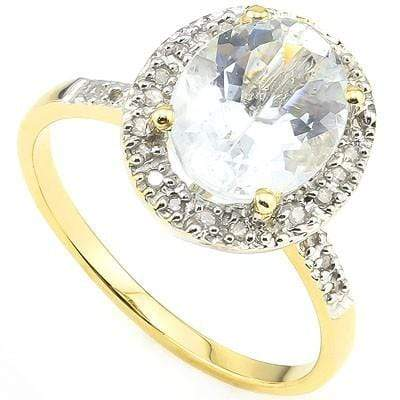 PRECIOUS 2.00 CT AQUAMARINE & 28 PCS WHITE DIAMOND 10K SOLID YELLOW GOLD RING - Wholesalekings.com