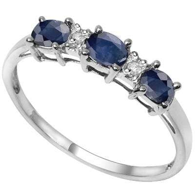 PRECIOUS 2.00 CT GENUINE SAPPHIRE & 2 PCS WHITE DIAMOND PLATINUM OVER 0.925 STERLING SILVER RING wholesalekings wholesale silver jewelry