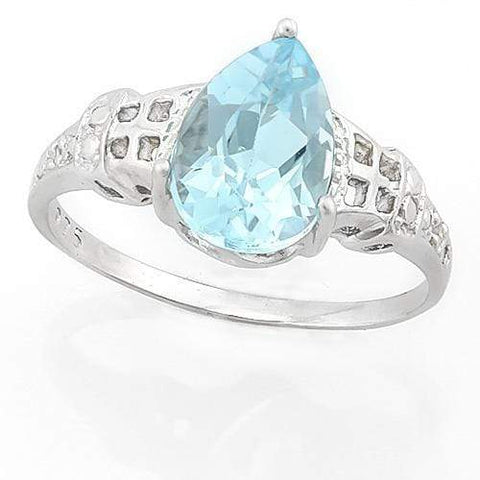 PRECIOUS ! 2 CARAT BABY SWISS BLUE TOPAZ & DIAMOND 925 STERLING SILVER RING - Wholesalekings.com