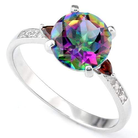 PRECIOUS ! 2 CARAT MYSTIC GEMSTONE & 1/5 CARAT GARNET 925 STERLING SILVER RING wholesalekings wholesale silver jewelry