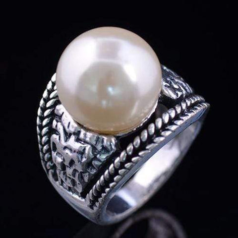 PRECIOUS ! ANTIQUE STYLE GERMAN SILVER PEARL RING - Wholesalekings.com