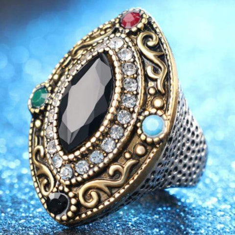 PRECIOUS ! CREATED BLACK SAPPHIRE 18K GOLD PLATED GERMAN SILVER RING US8 - Wholesalekings.com
