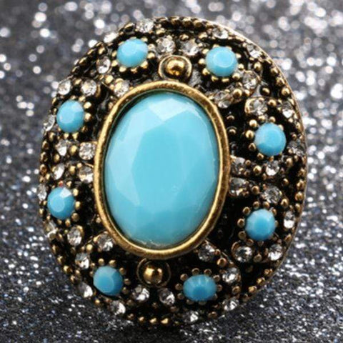 PRECIOUS ! CREATED BLUE TURQUOISE 18K GOLD PLATED GERMAN SILVER RING US7 - Wholesalekings.com