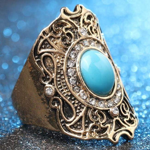 PRECIOUS ! CREATED BLUE TURQUOISE 18K GOLD PLATED GERMAN SILVER RING US8 - Wholesalekings.com