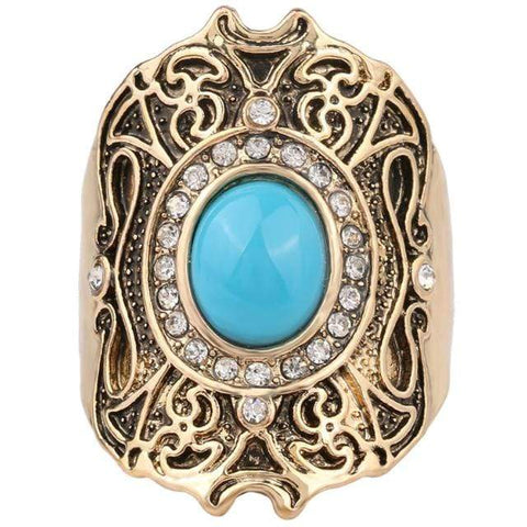 PRECIOUS ! CREATED BLUE TURQUOISE 18K GOLD PLATED GERMAN SILVER RING US9 - Wholesalekings.com