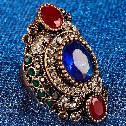 PRECIOUS ! CREATED SAPPHIRE & RUBY 18K GOLD PLATED GERMAN SILVER RING US7 - Wholesalekings.com