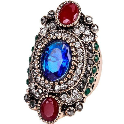 PRECIOUS ! CREATED SAPPHIRE & RUBY 18K GOLD PLATED GERMAN SILVER RING US8 - Wholesalekings.com