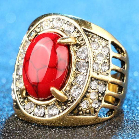 PRECIOUS ! RED AGATE 18K GOLD PLATED GERMAN SILVER RING US7 - Wholesalekings.com