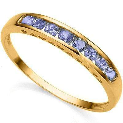 PRETTY 0.26 CT GENUINE TANZANITE 10K SOLID YELLOW GOLD RING - Wholesalekings.com