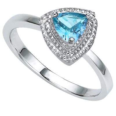 PRETTY 0.57 CARAT TW BLUE TOPAZ & GENUINE DIAMOND PLATINUM OVER 0.925 STERLING SILVER RING - Wholesalekings.com