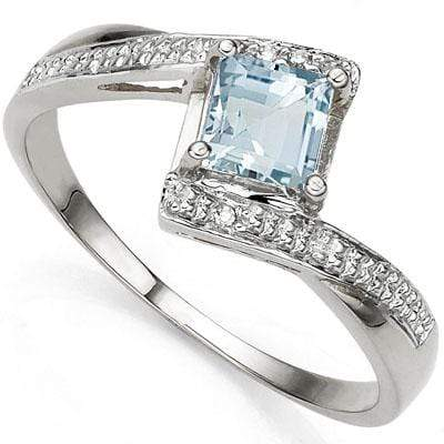 PRETTY 0.60 CT AQUAMARINE & 2 PCS WHITE DIAMOND PLATINUM OVER 0.925 STERLING SILVER RING wholesalekings wholesale silver jewelry