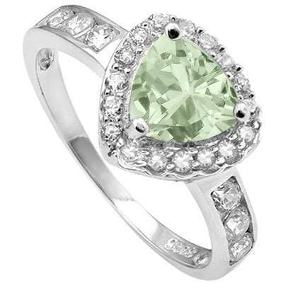 PRETTY 1.01 CT GREEN AMETHYST & 21 PCS CREATED WHITE SAPPHIRE 0.925 STERLING SILVER W/ PLATINUM RING - Wholesalekings.com