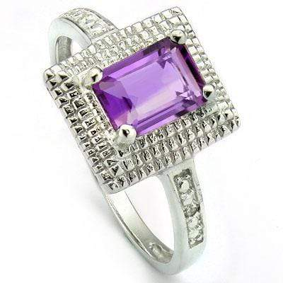 PRETTY 1.06 CARAT TW AMETHYST & GENUINE DIAMOND PLATINUM OVER 0.925 STERLING SILVER RING - Wholesalekings.com