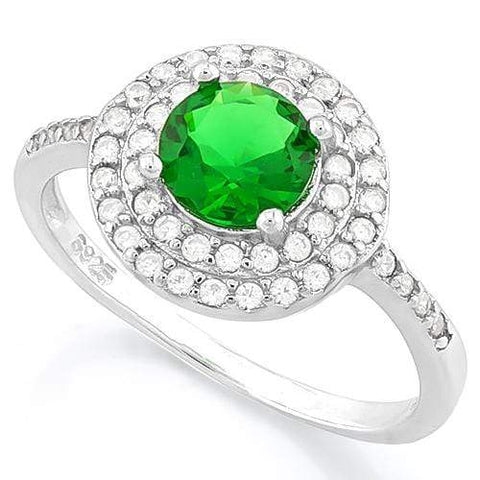 PRETTY ! 1 1/3 CARAT CREATED EMERALD & 1/2 CARAT (47 PCS) FLAWLESS CREATED DIAMOND 925 STERLING SILVER RING wholesalekings wholesale silver jewelry