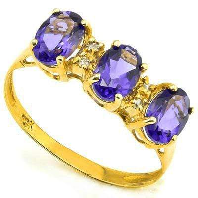 PRETTY 1.13 CT GENUINE TANZANITE & 4 PCS WHITE DIAMOND 10K SOLID YELLOW GOLD RING wholesalekings wholesale silver jewelry
