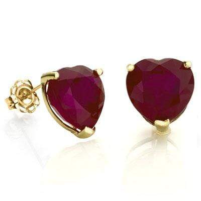 PRETTY 1.2 CARAT TW (2 PCS) GENUINE RUBY 10K SOLID YELLOW GOLD EARRINGS - Wholesalekings.com