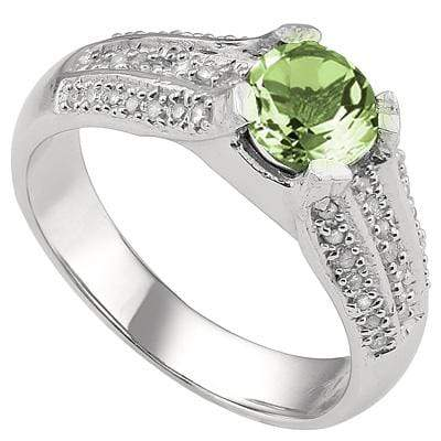 PRETTY 1.25 CARAT TW  GREEN AMETHYST & GENUINE DIAMOND PLATINUM OVER 0.925 STERLING SILVER RING - Wholesalekings.com