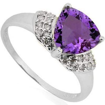 PRETTY 1.57 CT AMETHYST & 2 PCS WHITE DIAMOND 0.925 STERLING SILVER W/ PLATINUM RING wholesalekings wholesale silver jewelry
