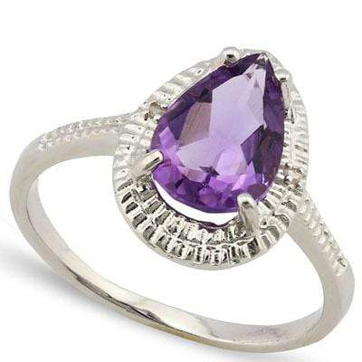 PRETTY 1.72 CARAT TW AMETHYST & GENUINE DIAMOND PLATINUM OVER 0.925 STERLING SILVER RING - Wholesalekings.com