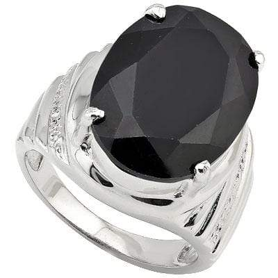 PRETTY 16.0 CT BLACK SAPPHIRE 0.925 STERLING SILVER W/ PLATINUM RING - Wholesalekings.com