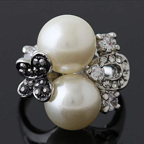 PRETTY ! 18K GOLD PLATED MAN-MAKE PEARL DESIGNER RING wholesalekings wholesale silver jewelry