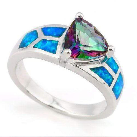 PRETTY !  2 1/3 CARAT CREATED MYSTIC GEMSTONE & 1 CARAT (6 PCS) CREATED FIRE OPALS 925 STERLING SILVER RING - Wholesalekings.com
