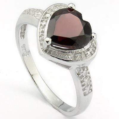PRETTY 2.17 CT GARNET & 2 PCS GENUINE DIAMOND PLATINUM OVER 0.925 STERLING SILVER RING - Wholesalekings.com