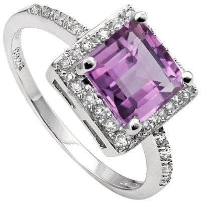 PRETTY 2.48 CARAT TW (25 PCS) AMETHYST & CUBIC ZIRCONIA PLATINUM OVER 0.925 STERLING SILVER RING - Wholesalekings.com