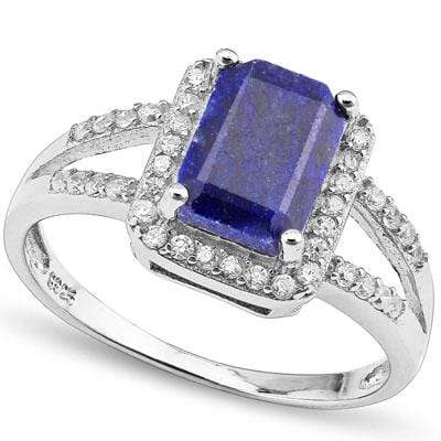 PRETTY 2.64 CARAT TW DYED GENUINE SAPPHIRE & CREATED WHITE SAPPHIRE PLATINUM OVER 0.925 STERLING SILVER RING - Wholesalekings.com