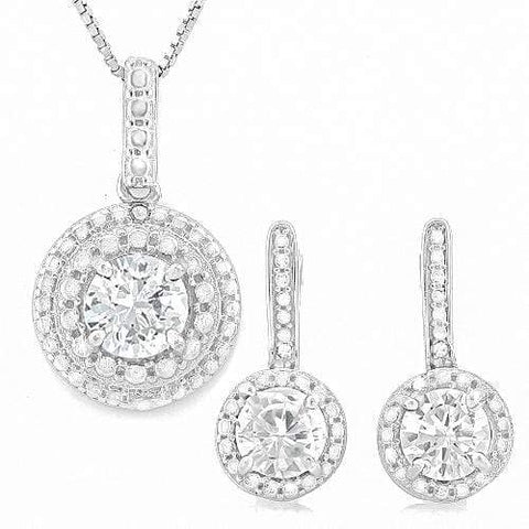 PRETTY ! 3 2/5 CARAT CREATED DIAMOND & DIAMOND 925 STERLING SILVER SET - Wholesalekings.com