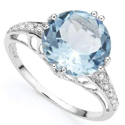 PRETTY 3.25 CT BLUE TOPAZ & 2PCS GENUINE DIAMOND PLATINUM OVER 0.925 STERLING SILVER RING - Wholesalekings.com