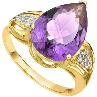 PRETTY 5.32 CARAT TW (9 PCS) AMETHYST & GENUINE DIAMOND 14K SOLID YELLOW GOLD RI - Wholesalekings.com