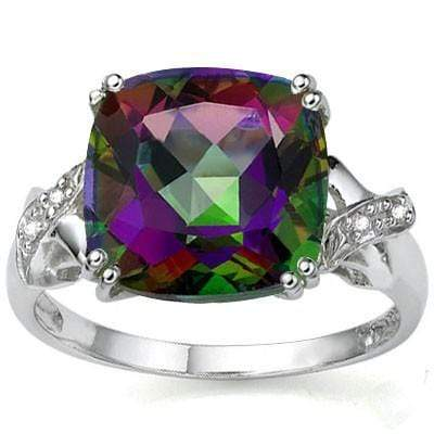 PRETTY 6.45 CT MYSTIC GEMSTONE & 2 PCS WHITE DIAMOND PLATINUM OVER 0.925 STERLING SILVER RING - Wholesalekings.com