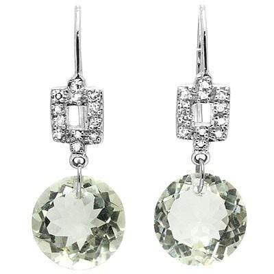 PRETTY 6.46 CT GREEN AMETHYST & 16PCS WHITE DIAMOND 10K SOLID WHITE GOLD EARRING - Wholesalekings.com