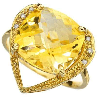 PRETTY 7.09 CARAT TW (9 PCS) CITRINE & GENUINE DIAMOND 10K SOLID YELLOW GOLD RIN - Wholesalekings.com