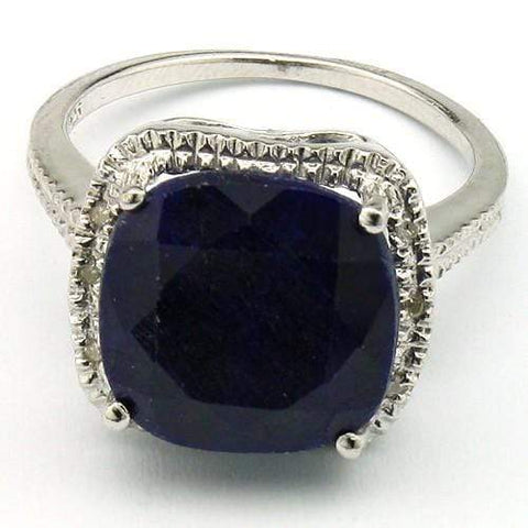 PRETTY 8.00 CT DYED SAPPHIRE & 6 PCS WHITE DIAMOND PLATINUM OVER 0.925 STERLING SILVER RING - Wholesalekings.com