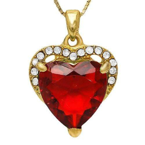 PRETTY ! CREATED RUBY & FLAWLESS CREATED DIAMOND 18K GOLD PLATED GERMAN SILVER P - Wholesalekings.com